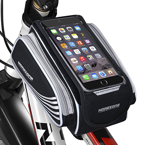 Morezone Bike Frame Bag Cycling Front Bags For Smart Phone Holder Splash-proof Bicycle Pouch Fit For Cellphone Mount Within 5.5 inch Top tube Bag
