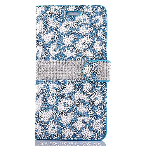 "iPhone 6s Ledertasche, Kristall Sparkly Diamant CLTPY iPhone 6 Folio Book Stil Luxus Schlanke Hybrid-Kreditkartentasche Mappenbeutel Schale Case, 3 in 1 Ganzkörper-Fall für 4.7"" Apple iPhone 6/6s + 1  Blau B"