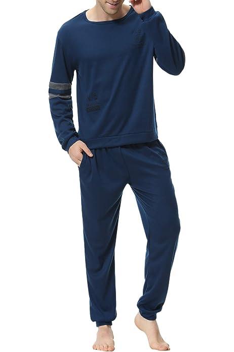 Sykooria Ropa de Dormir de algod/ón para Hombre Conjuntos de Pijama Manga Larga de Invierno 2 Piezas Ropa de Dormir Camisa Henley y Pantalones Largos Suaves