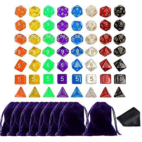JUSLIN 7 x 8(56 Stück ) Polyedrische Würfel Set für Dungeons und Dragons DND RPG MTG D20 D12 D10 D8 D4 mit 8 Stück Abschnürte Beutel und 2