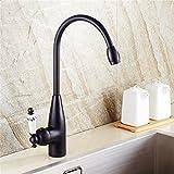 Europäische Retro-Kupfer Schwarz Wasserhahn warmes und kaltes Wasser Waschtisch Armatur Waschbecken Wasserhahn