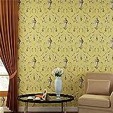 Tapeten Hochwertige, nicht gewebte Retro Haken Blumen Tapete Schlafzimmer Wohnzimmer TV Hintergrund Extra dicke feste Farbe Non-Self Adhesive Wallpaper Roll Murals 0.53m * 10m = 5.3㎡ , 2015 yellow green