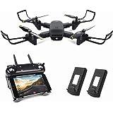 Kyerivs Faltbare Drohne mit Kamera Live Übertragung, FPV WiFi Quadcopter mit Doppelten 720P HD Kameras + Ersatzbatterie - Höhe halten, eine Taste Start / Landung, 360 ° Flip, APP Steuerung