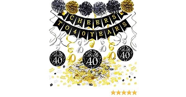 6 Pompon a Fiore 15 Pezzi 40 Compleanno Decorazioni Pendenti a Spirale e coriandoli 40 Anni di Compleanno Bandiera Striscione Howaf Kit Decorazione Festa di Compleanno per Donna Uomo Oro Nero