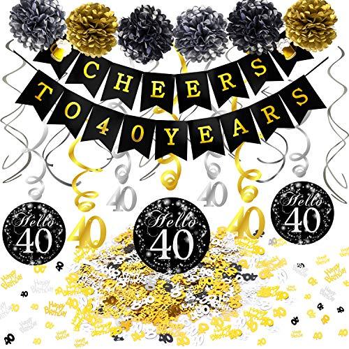 Howaf 40. Geburtstag Dekoration Set, Cheers Zum 40. Geburtstag Banner und Folie Spirale Girlande, Happy Birthday & Zahl 40 Konfetti, Pom Poms für Männer und Frauen 40. Geburtstag deko schwarz Gold (40. Deko-ideen Geburtstag)
