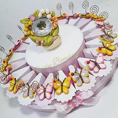 Torta bomboniera bimba per battesimo nascita farfalle clip fiore orologio spedizione gratuita sb (torta da 20 fette)