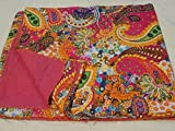 Tribal Asian Textiles Multicolor Paisley Print King Size Kantha Quilt , Kantha Blanket, Bed Cover, King Kantha bedspread, Bohemian Bedding Kantha Size 90 Inch x 108 Inch 005