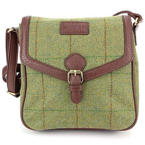 Hawkins Tweed Schultertasche Kuriertasche Umhängetasche Handtasche Mitte Grün