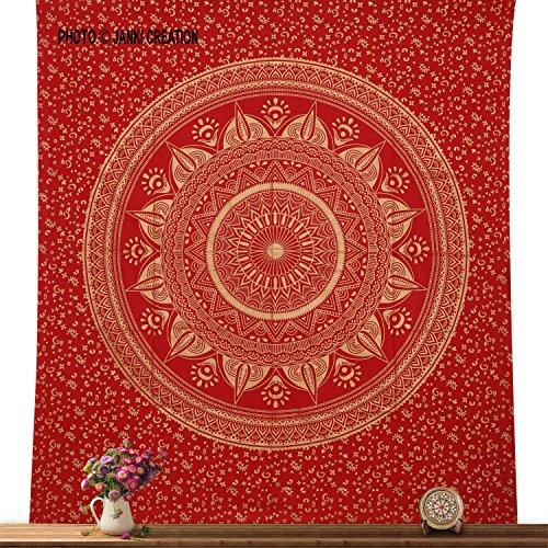 janki creation Hippie Wand Hippie Baumwolle Mandala Queen 85x 95Double bedspreed, Indischen Mandala Tapisserie, Psychedelic Art, Tagesdecke, Blossom Bird Wand aufhängen, (Die Blossom Bettdecke)