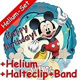 Singender Folienballon Set * MICKEY MOUSE + HELIUM FÜLLUNG + HALTE CLIP + BAND * für Kindergeburtstag // Folien Ballon Helium