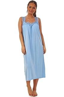 Womens Sleeveless Jersey Cotton Rich Floral Nightie Nightwear Lady Olga 0103
