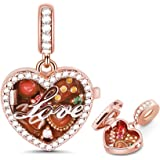 GNOCE Chocolate Box Charm Pendant Sterling Silver A Box of Love 18K Rose Gold Plated Charm Bead Fit Bracelet/Necklace for Wom