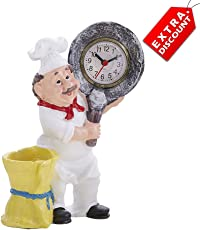 EZ Life Fat Foodie Chef Resin Pen Holder with Clock - Yellow - Extra Discount Offer