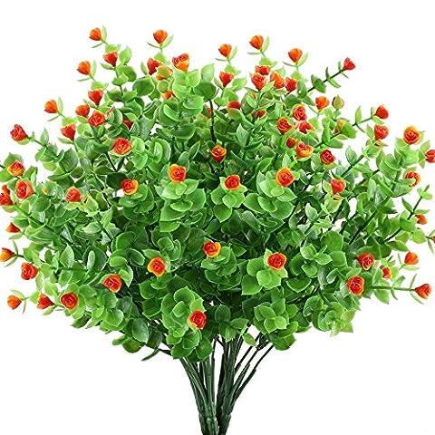 Houda 4pcs Artificial Greenery Plants Fake Shrubs Plastic Eucalyptus Bushes with Mini Rose Heads House Office Garden Patio Indoor Outdoor Decor (Orange 02)
