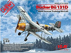 ICM 32030 Bücker Bü 131D, WWII German Training Aircraft(100% New Molds) - Maqueta de avión, Color Gris