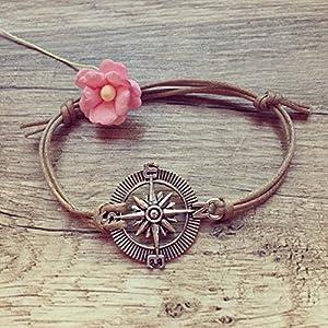 Kompass Armband in Beige Silber Größenverstellbar, compass / maritim / vintage / ethno / hippie / must have /...