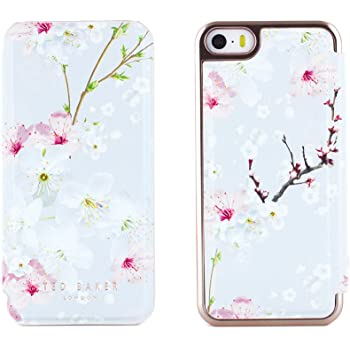 9bc6c5c34 Ted Baker SS17 Folio Style Case for Apple iPhone SE in Rose Gold with Built  in Mirror for Women Girls - iPhone SE Case ANA - Oriental Blossom