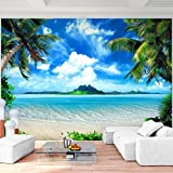 Fototapete Strand Meer Palmen Vlies Wand Tapete Wohnzimmer Schlafzimmer Büro Flur Dekoration Wandbilder XXL Moderne Wanddeko - 100% MADE IN GERMANY - Landschaft Natur Blau Runa Tapeten 9004010a
