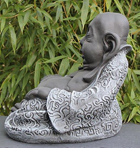 Tiefes Kunsthandwerk Buddha Figur aus Stein Schiefergrau - 4
