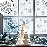 45x Glitter Fenster Sticker, Weihnachten silber Snow Flake Xmas Home Dekoration