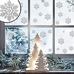 45 vetrofanie con brillantini, adesivi di Natale per la finestra a forma di fiocco di neve argentato, decorazione natalizia per la casa
