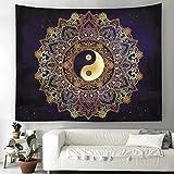 Yin Yang Wandteppich Indisch Mandala Wandbehang Orientalisch Hippie Bohemian Tapisserie Wandtuch Tischdecke Strandtuch 150x150cm