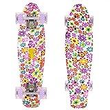 WeSkate 55cm Mini Cruiser Skateboard Gemustertes Retro Board mit stabilen Deck 4 PU-Rollen für Kinder, Jugendliche und Erwachsene (Kleine Blumen)