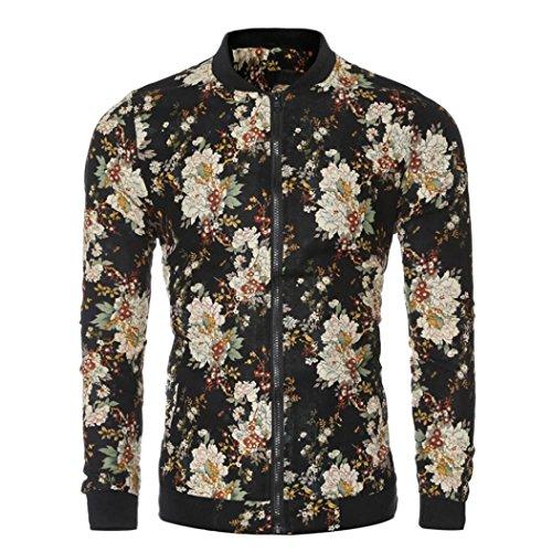 Haoricu Herren Baseball Jacke, Herbst New Men 's Fashion Slim Fit Bedruckt Mantel Lange Ärmel Strickjacke Jacke Large Schwarz