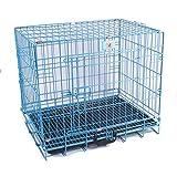 SL&ZX Klappbarer Metall hundebox,Haustier Hund k?Fig Kleiner Hund Pet Nest Gro?en Golden Retriever k?Fig k?Fig kiste mit r?dern und Tablett-Blau 60x43x53cm(24x17x21inch)