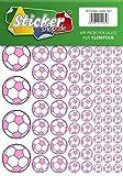 100 Aufkleber, Fußball, Sticker, 15-50 mm, rosa/lila, aus PVC, Folie, bedruckt, selbstklebend, EM, WM, Bundesliga