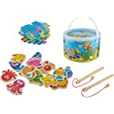 Iso Trade Magnet Angelspiel Set Puzzle-Funktion Holz 2in1 Spiel 40x30cm 14 Meerestiere 6191