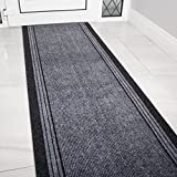 eXtreme Grey Rubber Backed Very Long Hallway Hall Runner Narrow Rugs Custom Length - Sold and Priced Per Foot (Length: 20' (610cm))