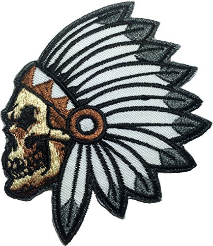 Feathered Indian Chief Head Death Skull Embroidered Sew Iron on Patch (RR-IRON-SKUL-HEAD-INDI-AN01) by Ranger Return (Death Head Patch)