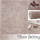 floor factory Hochflor Shaggy Teppich Loca beige 120x170cm - Flauschiger und günstiger Langflorteppich