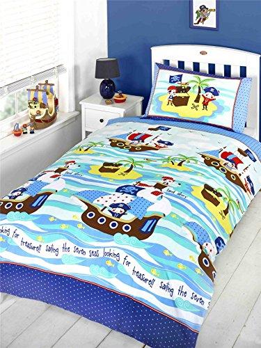 CHARACTER CLUB Ship Ahoy Pirates Treasure Junior/Lit bébé Lit Housse de Couette – 120 cm x 150 cm