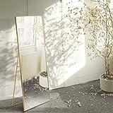 AUFHELLEN Lustro stojące z miedzianą metalową ramą 140 x 40 cm HD duże lustro do całego ciała z hakiem do salonu lub garderob