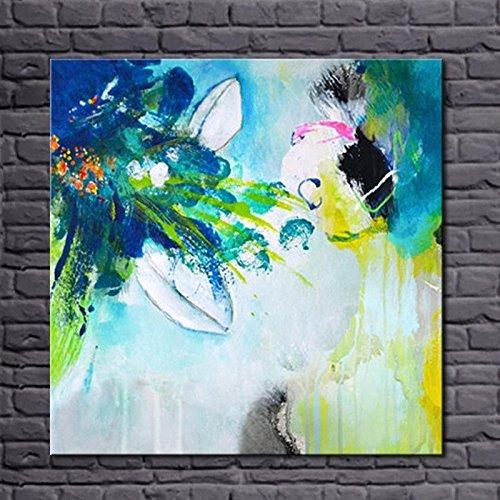 HANHAIBO Simple Fait Main Couleur Abstrait Peinture À L'Huile Acrylique Sur Toile Décoration De L'Art De Mur Pour La Chambre,75X100 (Toile Schlafzimmer)
