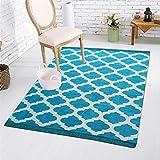 Fashion Folk Ethnic Velvet Touch Abstract New Chenille Carpet - 5 X 7 Ft, Light Blue