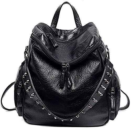 UTO Damen Backpack Purse 3 tragen PU gewascht Leder Niet besetzt Damen Rucksack Rücksack Schultertasche schwarz