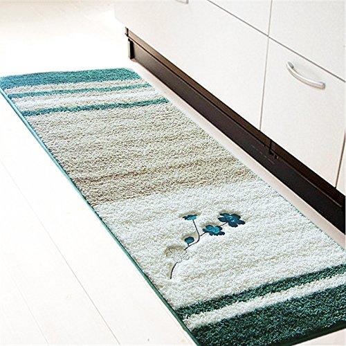 JUZHIJIA Bestickte Matten Für Korridor Eingangsmatten Saugfähigen Küche Teppich Teppich Für Schlafzimmer Bett Fußmatten Badezimmer Teppich, 45 X 120 Cm, - Gras-teppich Badezimmer