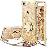 OCYCLONE iPhone 6/6S Hülle für Mädchen, Gold Glitzer Cover mit 360 Grad Ständer und Trageband Diamant Bling Mädchen Case für Apple iPhone 6/6S - 4,7 Zoll