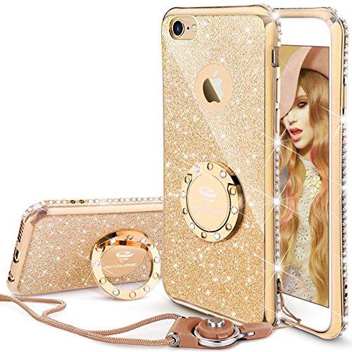 iPhone 6/6S Hülle für Mädchen, Gold Glitzer Cover mit 360 Grad Ständer und Trageband Diamant Bling Mädchen Case für Apple iPhone 6/6S - 4,7 Zoll (Gold I Phone 6 Cover)