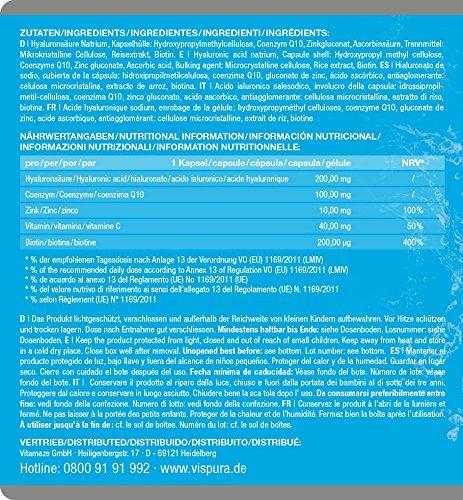 Hyaluronsäure hochdosiert 200mg + Coenzym Q10 100mg pro vegane Kapseln 2 Monatskur, HOHE Bioverfügbarkeit Micro-Molecular von 500-700 kDa Qualitätsprodukt-Made-in-Germany - 6