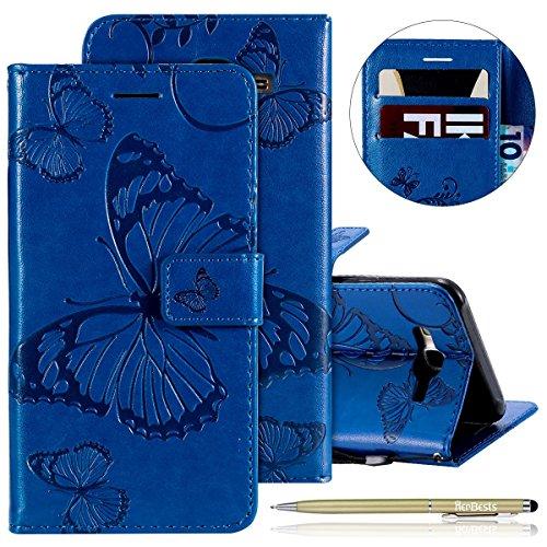 Herbests Kompatibel mit Samsung Galaxy J7 2015 Handy Hülle Tasche Leder Handy Schutzhülle 3D Retro Schmetterling Tasche Leder Flip Case Cover Lederhülle Magnet Kartenfach Handytasche,Blau