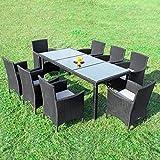 RedNeck Gartenmöbel Set 8er Sitzgruppe Dining Exclusive Schwarz Polyrattan Alu mit Milchglas
