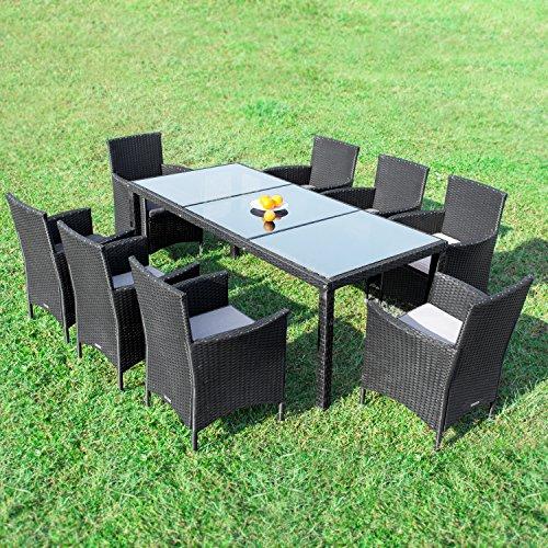 RedNeck Gartenmöbel Set 8er Sitzgruppe Dining Exclusive Schwarz Polyrattan Alu