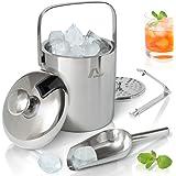Amazy Roestvrijstalen ijsreservoir met deksel, inclusief tang, ijsschop en zeef - Dubbel geïsoleerde ijsblokjescontainer met