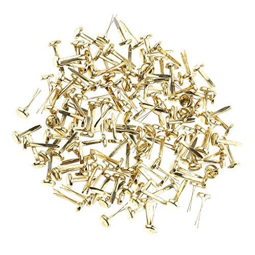 Sharplace 200er Set Mini Drahtstifte Mini Brads Rundkopf-Klammern Musterklammern für Papier Bastelarbeiten Scrapbooking - Gold, 8mm (Gold Mini Brads)