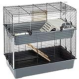 Ferplast Jaula de Dos Pisos para Conejos Rabbit 100 Double, Casa para pequeños Animales, Conejera con Accesorios incluidos, de Alambre Pintado Negro y plástico, 99 x 51,5 x h 92 cm