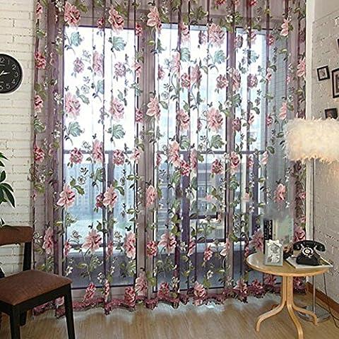 nsrzhp romantico floreale Tulle Voile Porta Tenda di Finestra Schermi sciarpa Mantovane Decorazione per finestre